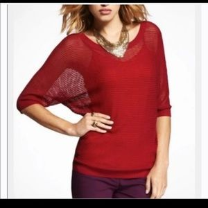 Express Red Mesh knit Dolman Sweater Small